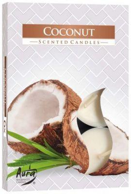 svíčka čajová vonná 6ks kokos