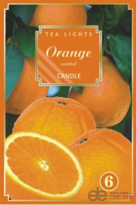 svíčka čajová vonná 6ks pomeranč
