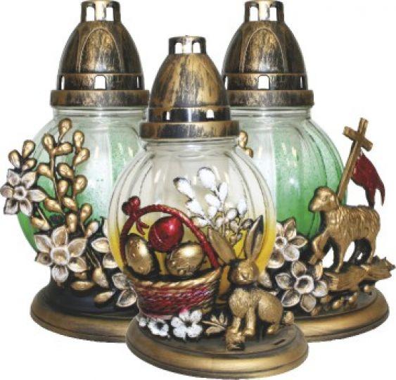 lucerna s dekorací velikonoce