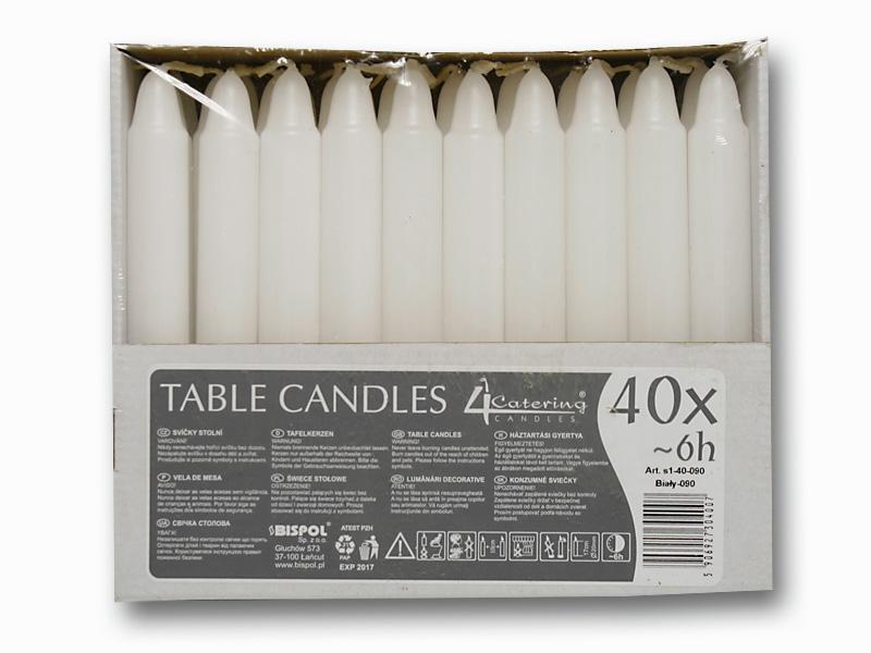 svíčky stolní 40ks bílá